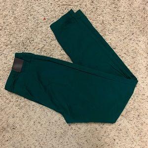 H&M Side Zip Pants 10 Skinny Jade Green